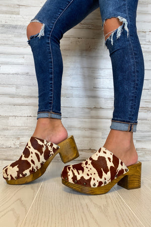 Holly Cowhair Clogs