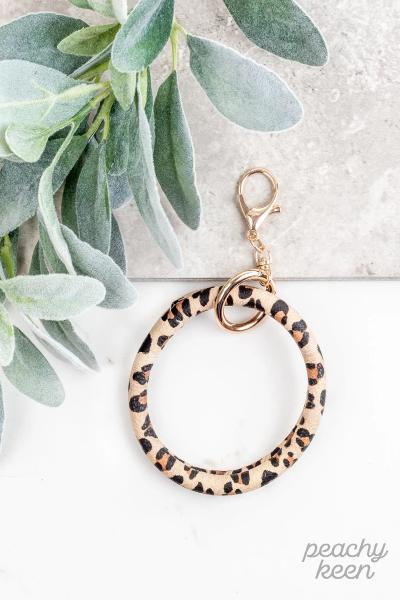 Beige Leopard Key Ring Bangle Bracelet - Free Souls Boutique