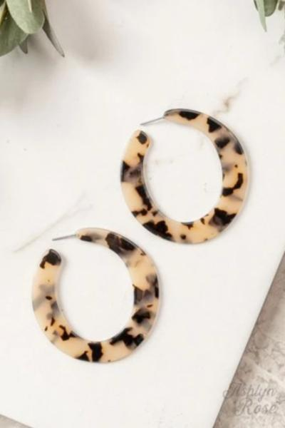 Large Round Acrylic hoop Leopard Earrings - Free Souls Boutique