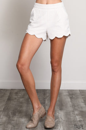 Stripe Scalloped Shorts - Free Souls Boutique