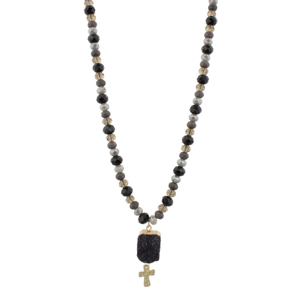 Black beaded cross necklace free souls boutique black beaded cross necklace aloadofball Choice Image