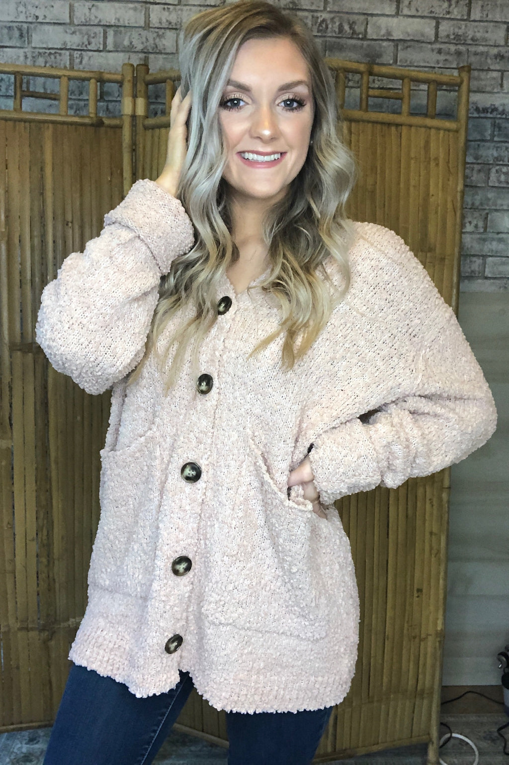 Hooded Button Popcorn Cardigan