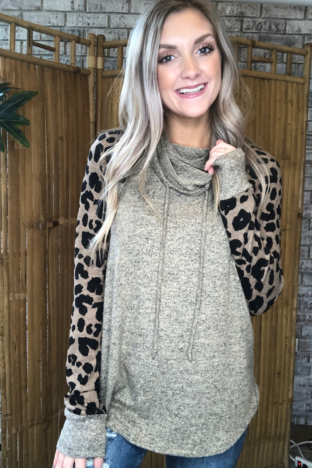 Cowl Neck Leopard Sleeve Top
