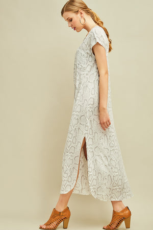 Front Pocket Reptile Maxi Dress - Free Souls Boutique