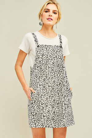 Leopard Pinafore Overall Dress - Free Souls Boutique