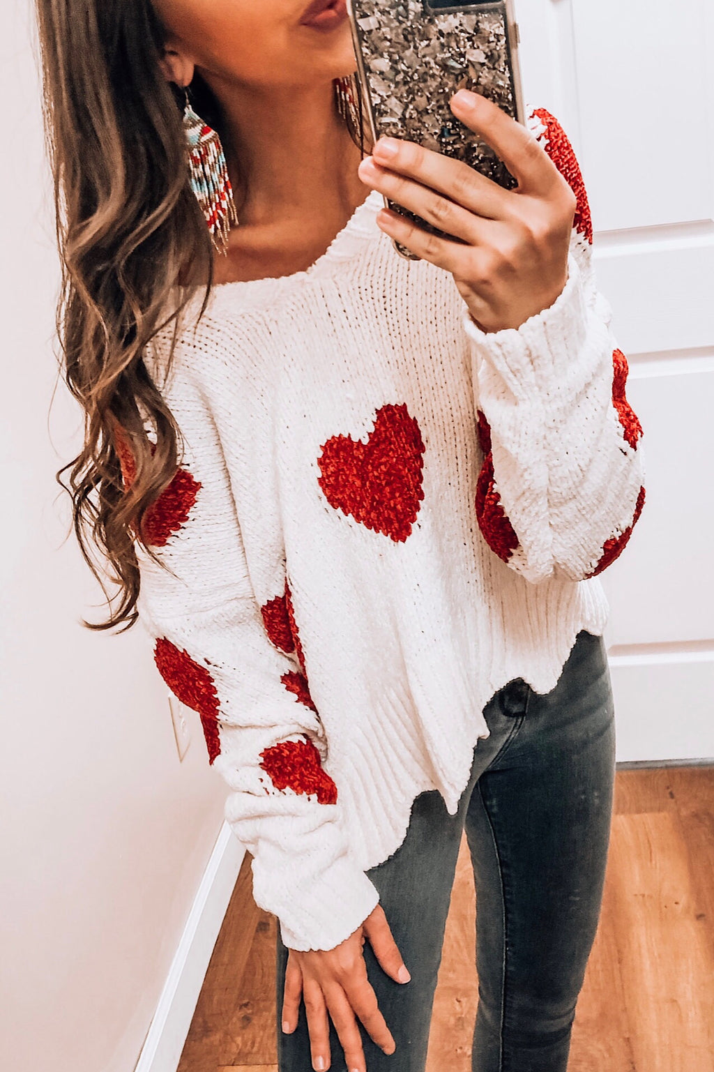 Scalloped Heart Sweater - Free Souls Boutique