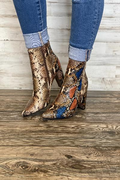 Bellflower-09 Pointed snake Skin Heeled Booties - Free Souls Boutique