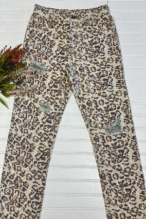 Distressed Faded Cheetah Print Jeans - Free Souls Boutique