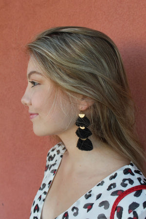 Triple Fan Tassel Earrings - Free Souls Boutique