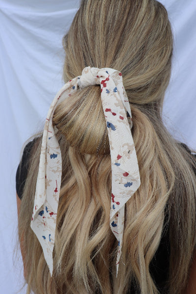 Print Ribbon Hair Scarf Scrunchie - Free Souls Boutique