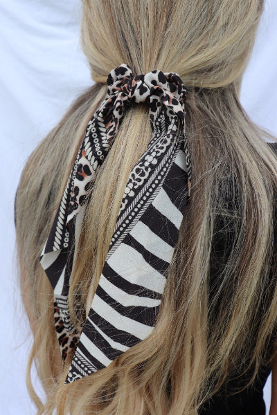 Leopard Zebra Ribbon Hair Scarf Scrunchie - Free Souls Boutique