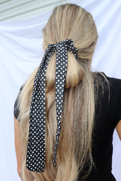 Polka Dot Ribbon Hair Scarf Scrunchie - Free Souls Boutique