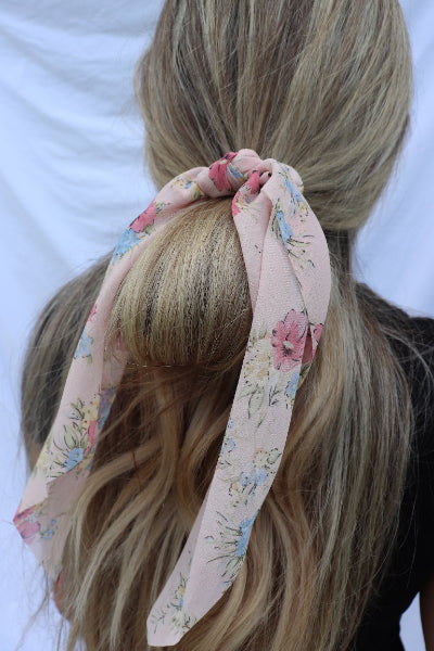 Soft Floral Ribbon Hair Scarf Scrunchie - Free Souls Boutique