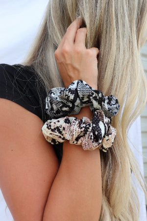 Snakeskin Print Hair Scrunchie 2-Pack - Free Souls Boutique