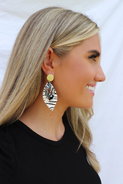 Leather And Acrylic Marquis Zebra Earrings - Free Souls Boutique