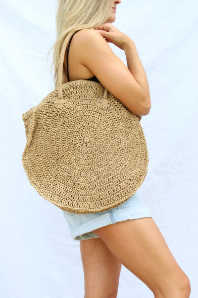 Soft Circle Straw Handbag - Free Souls Boutique