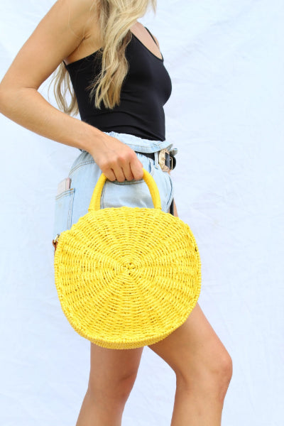 Circle Straw Crossbody Handbag - Free Souls Boutique