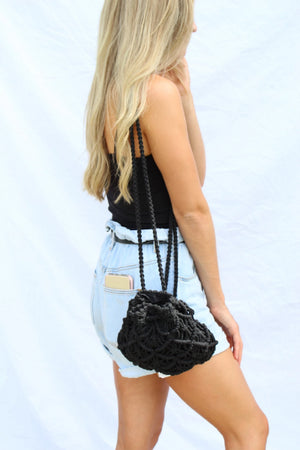 Macrame Drawstring Drop Backpack - Free Souls Boutique