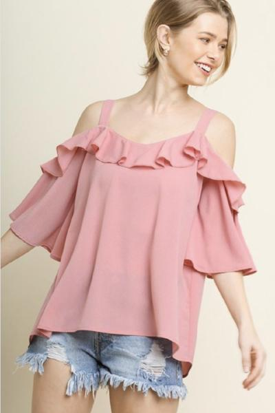 Open Shoulder Ruffle Top - Free Souls Boutique