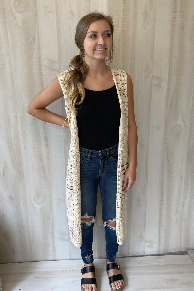 Pointelle Long Vest Cardigan