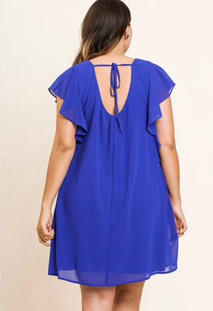 Plus Tie Back Ruffle Sleeve Dress - Free Souls Boutique