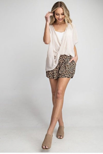 High Waist Leopard Pleat Shorts