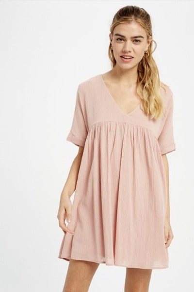 V-Neck Babydoll Tunic Dress