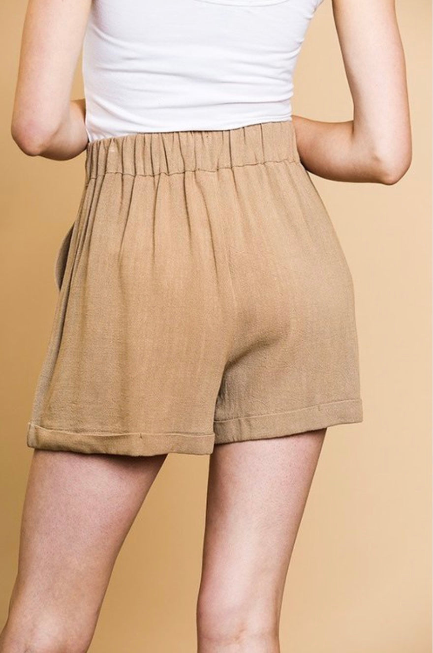 Linen Blend Faux Button Shorts - Free Souls Boutique