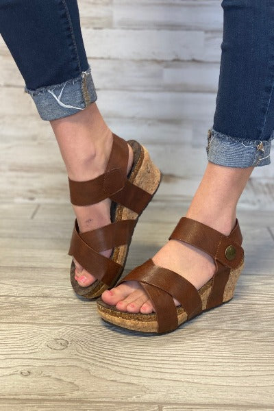 Chantal Strappy Button Wedge
