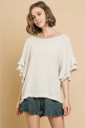 Linen Layered Sleeve Frayed Top - Free Souls Boutique