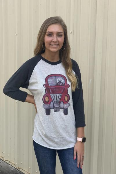 Athens Mascot Truck Raglan Graphic Tee - Free Souls Boutique