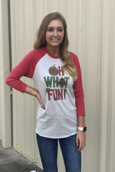 Oh What Fun Raglan Graphic Tee - Free Souls Boutique