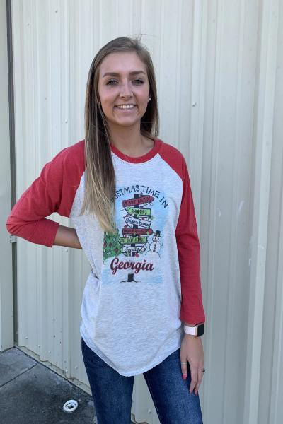 Georgia Christmas Directional Raglan Graphic Tee - Free Souls Boutique