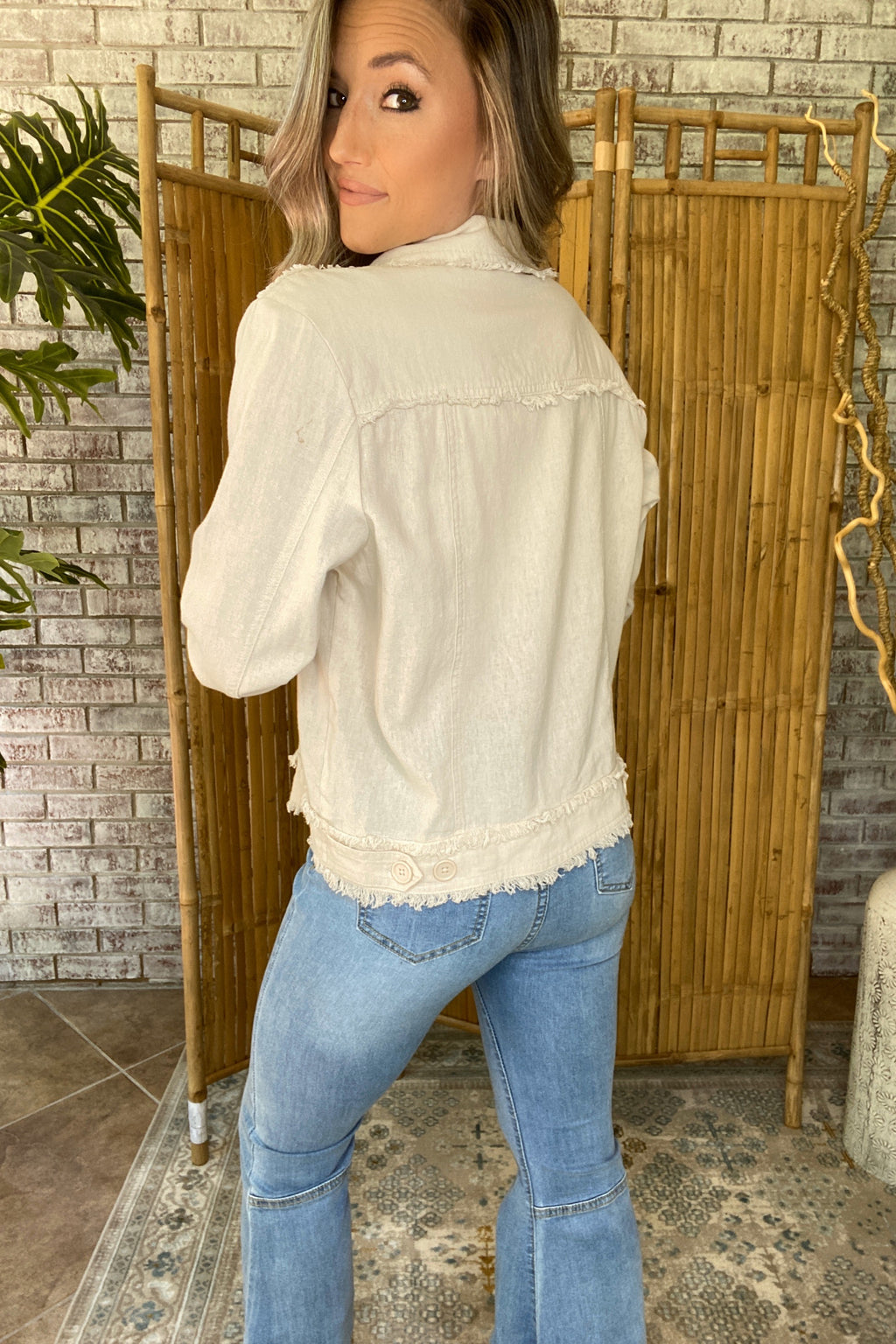 Frayed Stitch Button Down Jacket