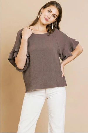Layered Sleeve Bubble Crinkle Top - Free Souls Boutique