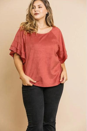 Plus Suede Layered Sleeve Top - Free Souls Boutique