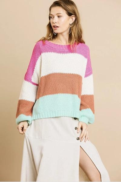 Colorblock Stripe Knit Sweater - Free Souls Boutique