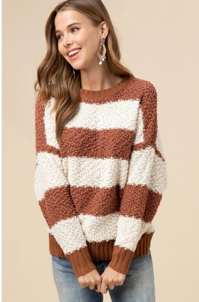 Striped Open Back Sweater - Free Souls Boutique