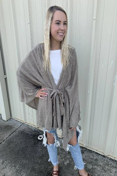 Hooded Tie Waist Poncho - Free Souls Boutique