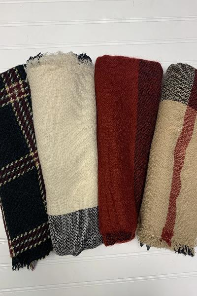 Line Pattern Plaid Blanket Scarf - Free Souls Boutique