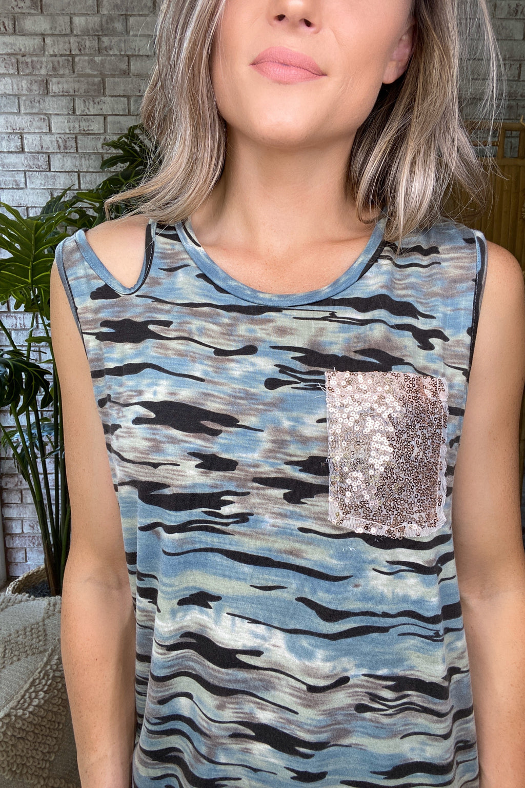 Take The Edge Off Sequin Pocket Camo Tank Top