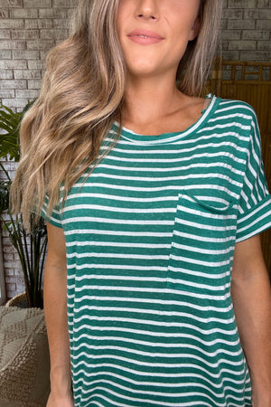 Chest Pocket Striped Top