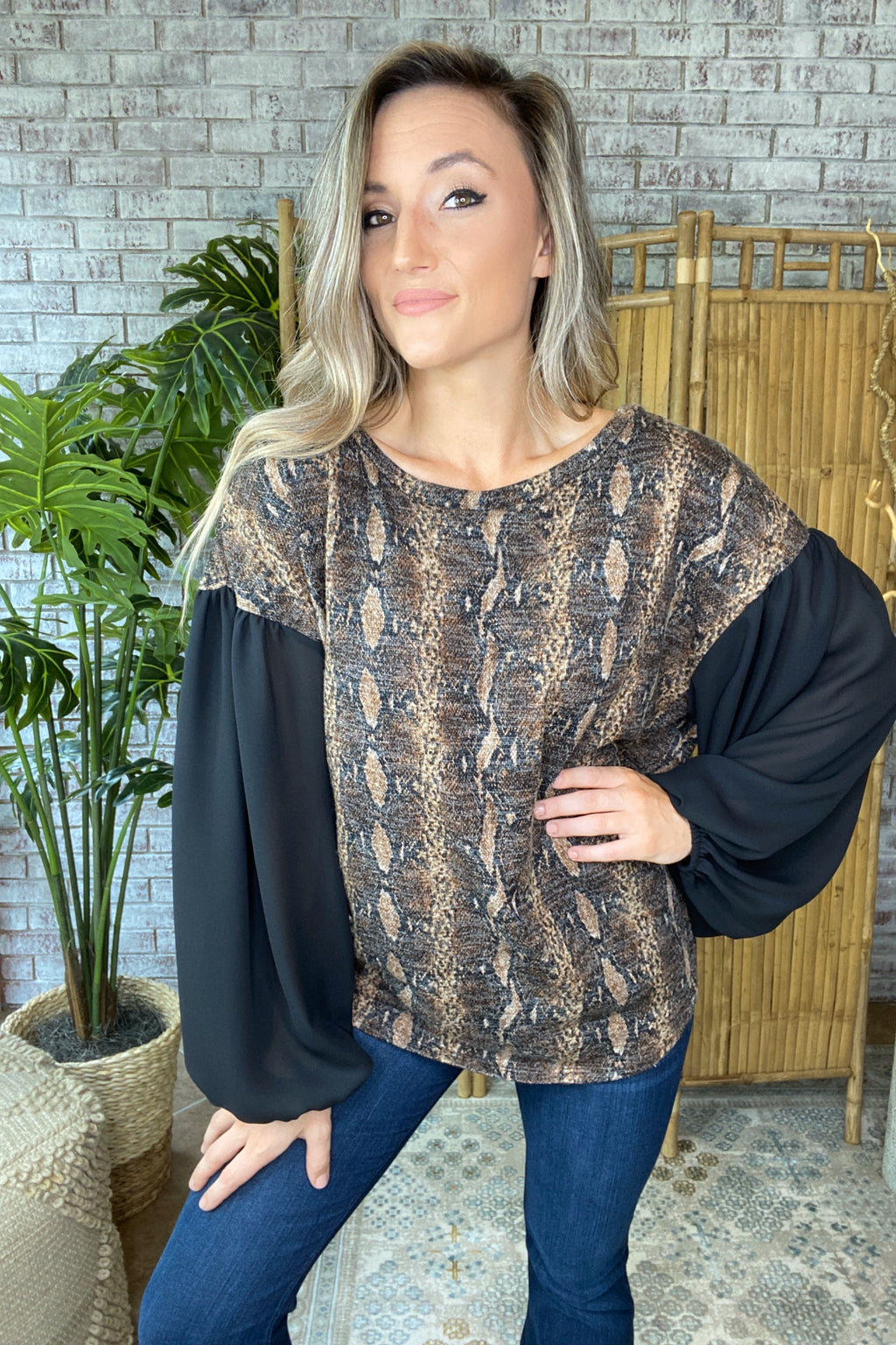 Animal Print Top With Solid Sleeves