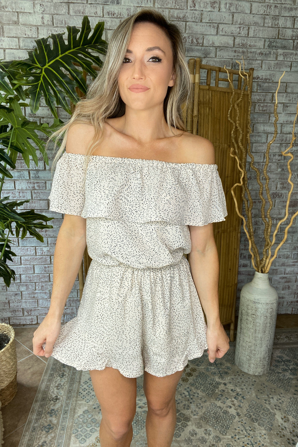 Off Shoulder Woven Printed Romper