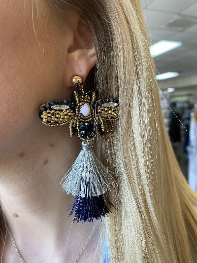 Cloth Backed Beaded Bee Tassel Earrings