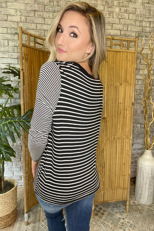 Mixed Stripe Long Sleeve Top