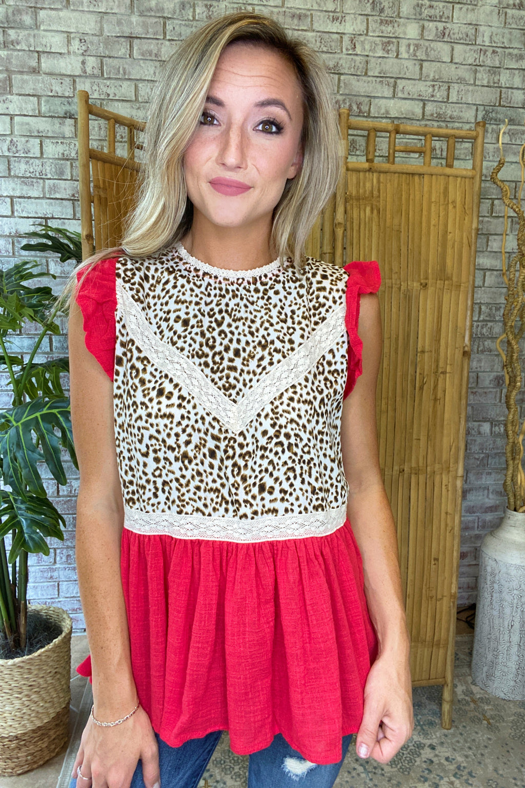 Animal & Lace Flutter Top