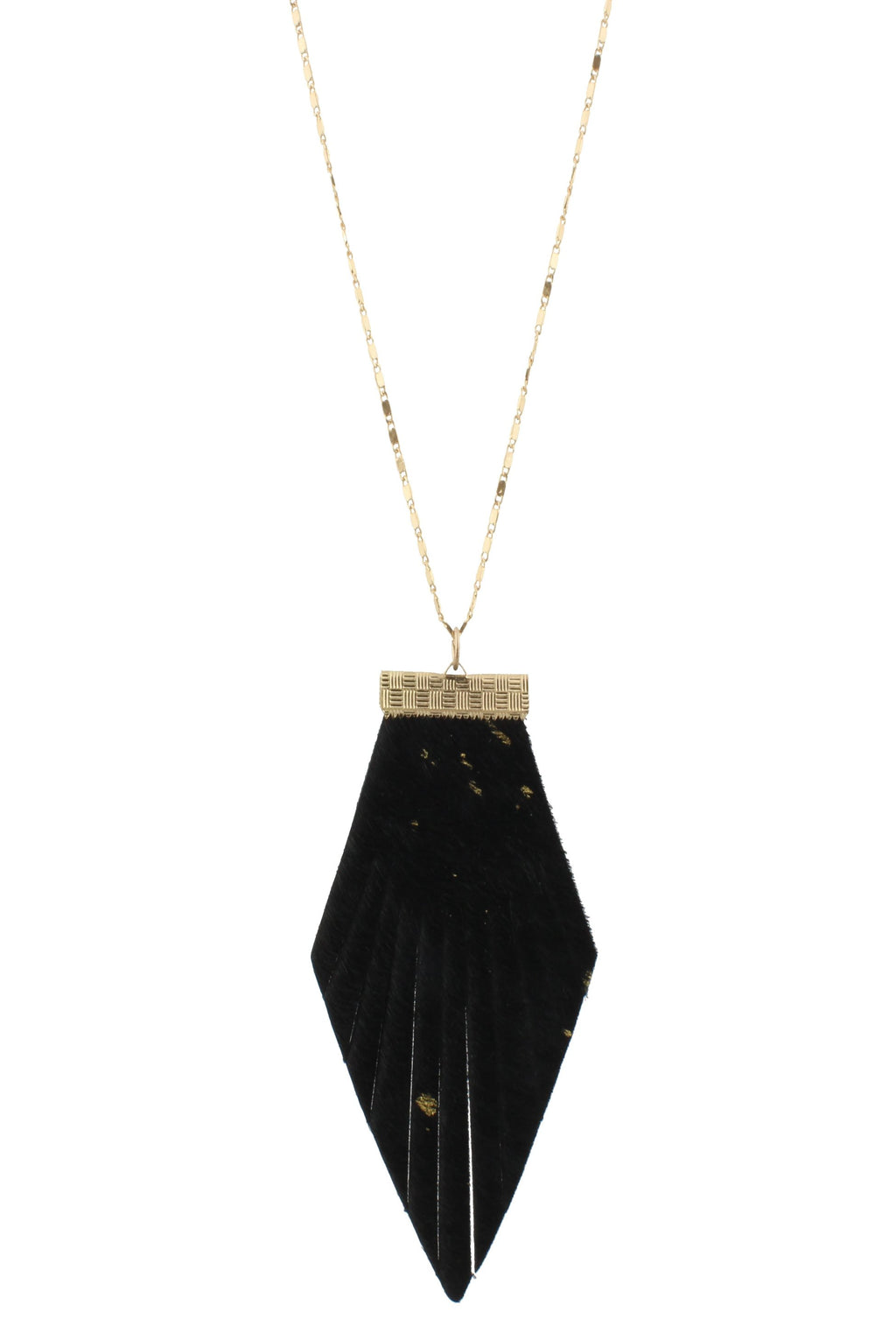 JM Black Cowhide Pendant Necklace - Free Souls Boutique