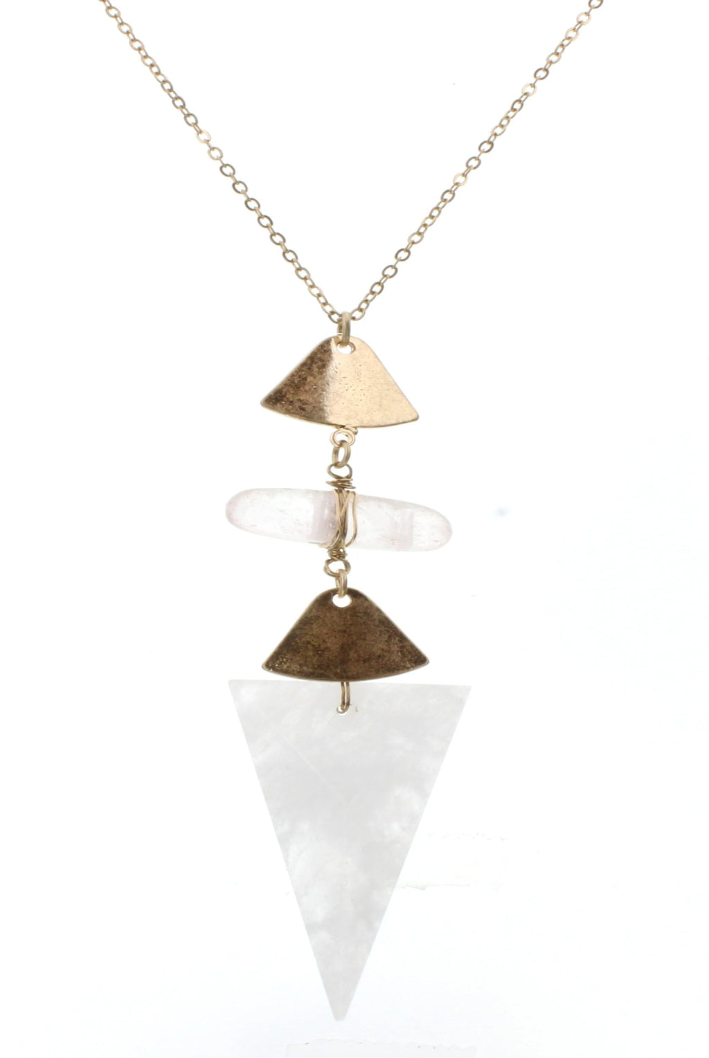 JM Briley Clear Stone With Triangle Pendant Necklace - Free Souls Boutique