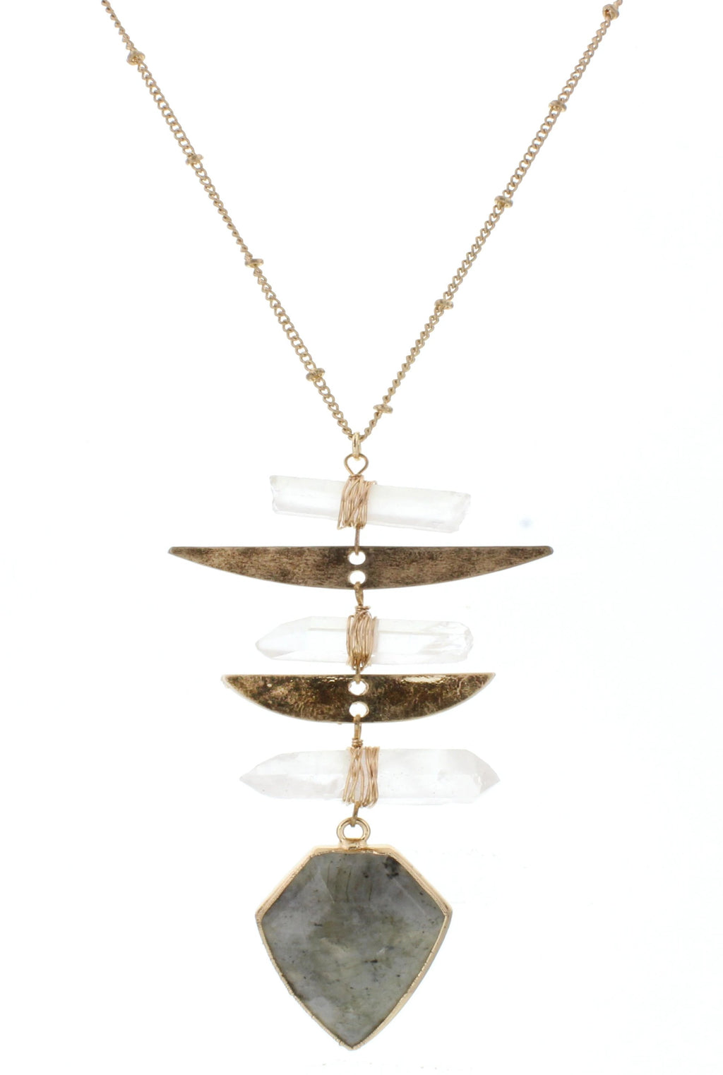 JM Briley Labrodite Stone With Triangle Pendant Necklace - Free Souls Boutique